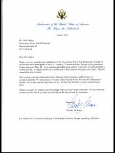 De brief van de ambassadeur van de United States